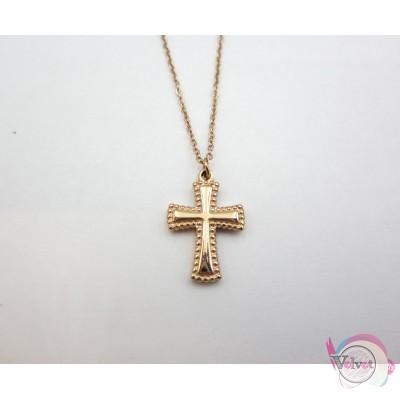 Ατσάλινο κολιέ, με σταυρό, ροζ χρυσό, 42cm, 1τμχ. Ατσάλινα κολιέ